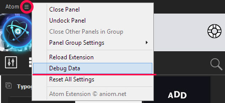 Click to icon with extension name and select Debug Data